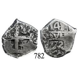 Potosí, Bolivia, cob 4 reales, 1772V-(Y).