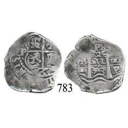 Potosí, Bolivia, cob 2 reales, 1653E.