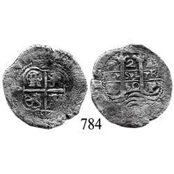 Potosí, Bolivia, cob 2 reales, 1660E.