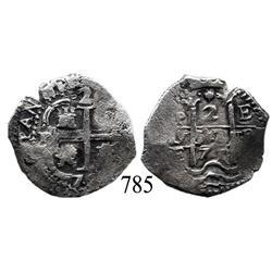 Potosí, Bolivia, cob 2 reales, 1677E.