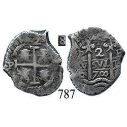 Potosí, Bolivia, cob 2 reales, 1700F.