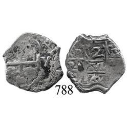 Potosí, Bolivia, cob 2 reales, 1707Y.