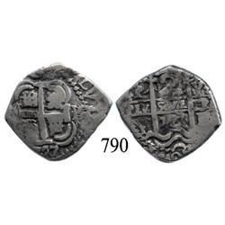 Potosí, Bolivia, cob 2 reales, 1727Y, Louis I, rare with LVIS in legend.