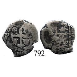 Potosí, Bolivia, cob 2 reales, 1742P.