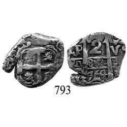 Potosí, Bolivia, cob 2 reales, 1764V-Y.
