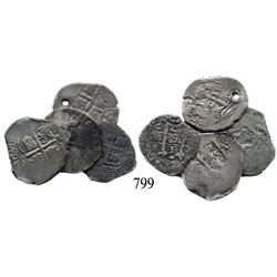 Lot of 4 Potosí, Bolivia, cob 1 reales of Philip IV: 1655E (2), 1657E, and date not visible.