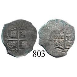 Potosí, Bolivia, cob 1 real, 1668E.