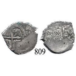 Potosí, Bolivia, cob 1 real, 1680V, mintmark and assayer transposed on pillars side, rare.