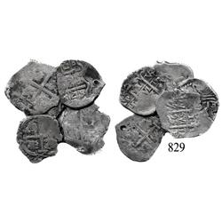 Lot of 6 Potosí, Bolivia, cob 1 reales of Charles II: 1671E, 1682V, 168(?)VR, 16(?)6VR, 1689VR and 1