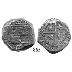 Madrid, Spain, cob 8 reales, Philip IV, assayer backwards B (1642), rare, Plate Coin in Calicó-Trigo