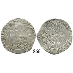Seville, Spain, 4 reales, Ferdinand-Isabel, assayer Gothic P in middle of reverse.