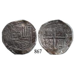 Granada, Spain, cob 4 reales, Philip II, assayer F.