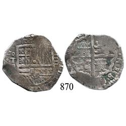Toledo, Spain, cob 4 reales, Philip III or IV, assayer P.