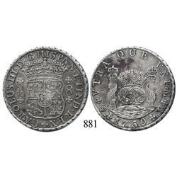 Potosí, Bolivia, pillar 8 reales, Charles III, 1769JR, round 9.
