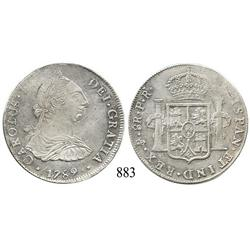 Potosí, Bolivia, bust 8 reales, Charles IV transitional (bust of Charles III, ordinal IV), 1789PR.