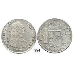 Potosí, Bolivia, bust 8 reales, Charles IV, 1791PR.