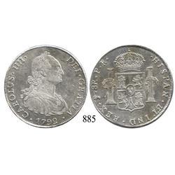 Potosí, Bolivia, bust 8 reales, Charles IV, 1792PR.