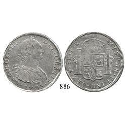 Potosí, Bolivia, bust 8 reales, Charles IV, 1793PR.