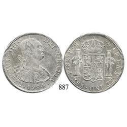 Potosí, Bolivia, bust 8 reales, Charles IV, 1794PR.