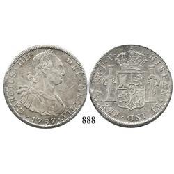 Potosí, Bolivia, bust 8 reales, Charles IV, 1797PP.