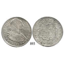 Potosí, Bolivia, bust 8 reales, Charles IV, 1799PP.