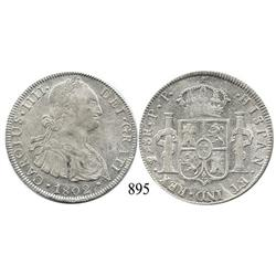 Potosí, Bolivia, bust 8 reales, Charles IV, 1802PP.