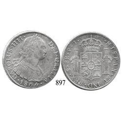 Potosí, Bolivia, bust 8 reales, Charles IV, 1804PJ.