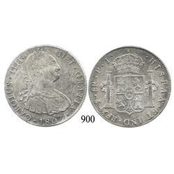 Potosí, Bolivia, bust 8 reales, Charles IV, 1807PJ.