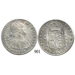 Potosí, Bolivia, bust 8 reales, Charles IV, 1808PJ.