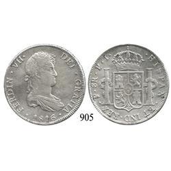 Potosí, Bolivia, bust 8 reales, Ferdinand VII, 1816PJ.