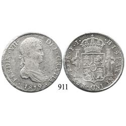 Potosí, Bolivia, bust 8 reales, Ferdinand VII, 1819PJ.