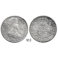 Potosí, Bolivia, bust 8 reales, Ferdinand VII, 1820PJ.
