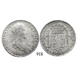 Potosí, Bolivia, bust 8 reales, Ferdinand VII, 1821PJ.