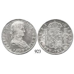 Potosí, Bolivia, bust 8 reales, Ferdinand VII, 1822PJ.