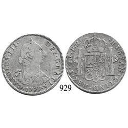 Potosí, Bolivia, bust 4 reales, Charles III, 1777PR
