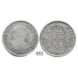Potosí, Bolivia, bust 4 reales, Charles III, 1779PR.