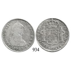 Potosí, Bolivia, bust 4 reales, Charles III, 1780PR.