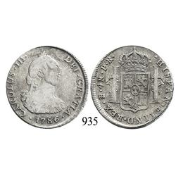 Potosí, Bolivia, bust 4 reales, Charles III, 1786PR.