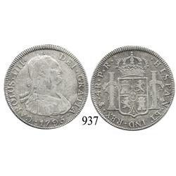 Potosí, Bolivia, bust 4 reales, Charles IV, 1795PR.