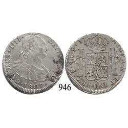 Potosí, Bolivia, bust 4 reales, Charles IV, 1807PJ.