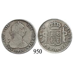 Potosí, Bolivia, bust 2 reales, Charles III, 1788PR.