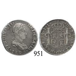 Potosí, Bolivia, bust 2 reales, Ferdinand VII, 1825JL.