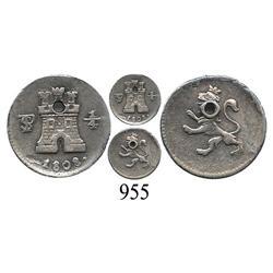 Potosí, Bolivia, ¼ real, Charles IV, 1808.