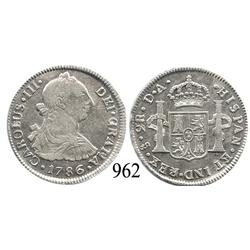 Santiago, Chile, bust 2 reales, Charles III, 1786DA.