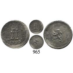 Santiago, Chile, ¼ real, Charles IV, 1793, no mintmark (very rare).
