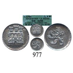 Colombia, ¼ real, Charles IV, no date or mintmark or assayer (1790-95), encapsulated ICG AU-50 (misa