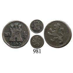 Bogotá, Colombia, ¼ real, Charles IV, 1800.