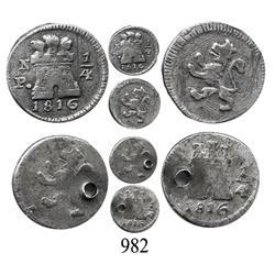 Lot of 2 Colombian ¼ reales, Ferdinand VII, 1816, Popayán and Bogotá.