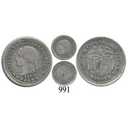 Bogotá, Colombia, ½ décimo, 1868.