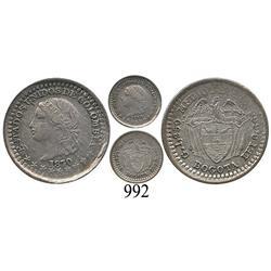 Bogotá, Colombia, ½ décimo, 1870.